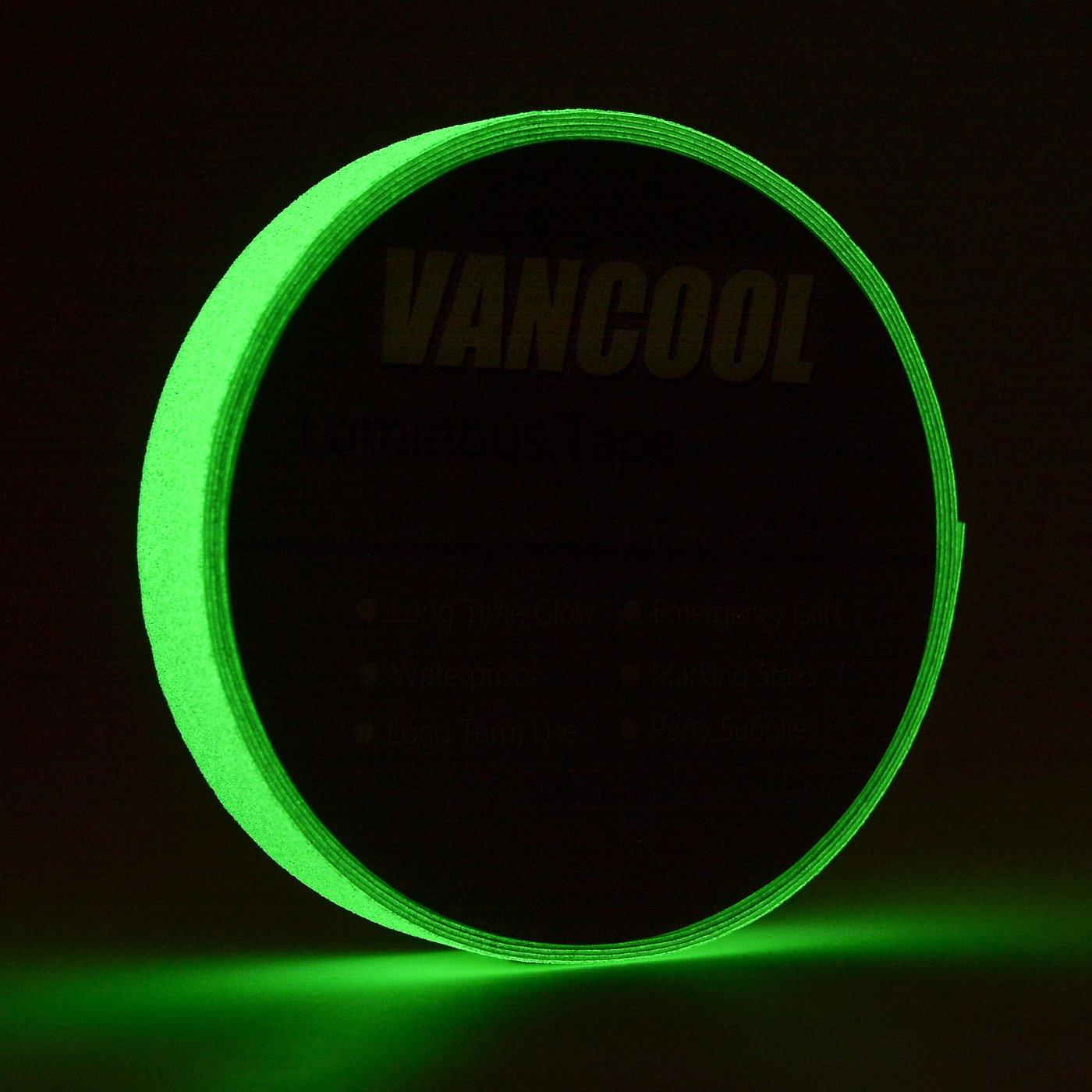 Vancool 25mm× 10m cinta fluorescente adhesiva Resplandor en la oscuridad Autoadhesivo Rollo de emergencia fluorescente,Largo tiempo resplandor, impermeable