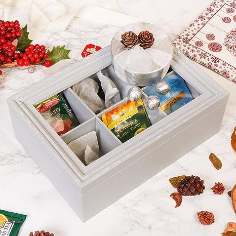 Set de regalo de Navidad para ella – Shabby Chic francés gris té caja de almacenamiento