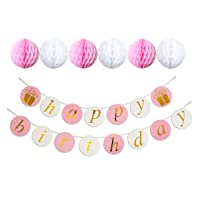 Keira Prince Happy Birthday Banner, Party Decorations, Versatile, Beautiful, Swallowtail Bunting Flag Garland, Chic White and Gold (PINK, WHITE)