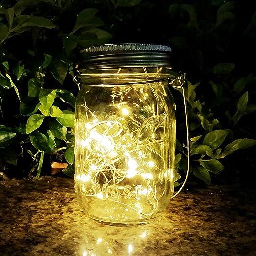 Mason Jar Sun Tarro Cristal, AGPTEK Lámpara LED Solar Luz con 20 ...
