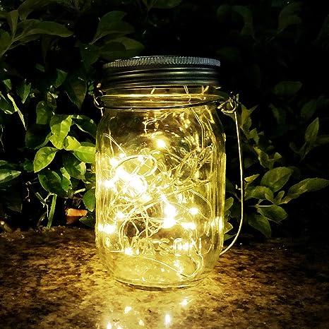 Mason Jar Sun Tarro Cristal,AGPTEK Lámpara LED Solar Luz con 20 Luces LED Impermeable