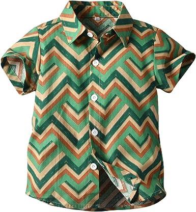 ALLAIBB Niños Bohemia Camisa Abotonar Camisa de Playa para ...