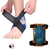 BodyMoves Kid's Ankle Brace Support Plus Hot and Cold Ice Pack (Active Blue, MED for Big Kids(4-7))