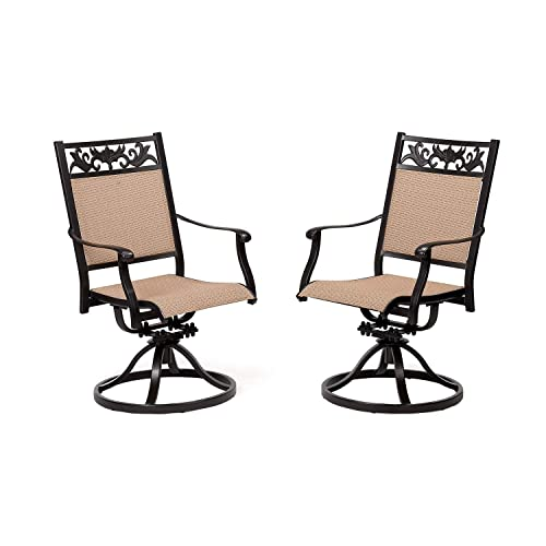 CW Chair Patio Set of 2 Cast Aluminum Textilene High Back Rocker, Metal Swivel Outdoor Dining Chair for Lawn Garden Backyard Sling Mesh Weather Resistant, Dark Brown