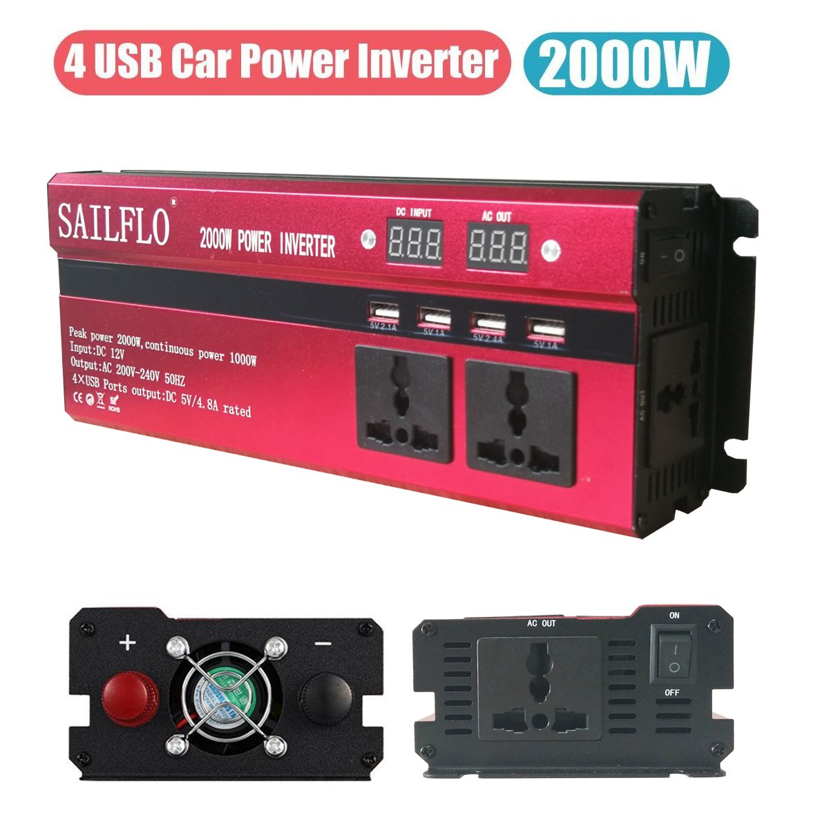 SAILFLO 2000W Peak Power Inverter DC 12V to AC 220V Car Adapter with 5A 4 USB Charging Ports