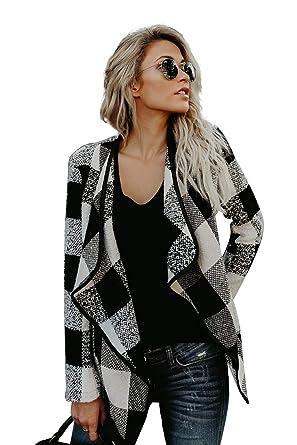 San Francisco b1813 21109 Veste Ecossaise Femme Vintage Style Tartan Cardigan Asymetrique Blazer col  Chale Gilet Fluide Manteau a Carreaux Blouson Fin Tunique Pull Ouvert Haut  ...