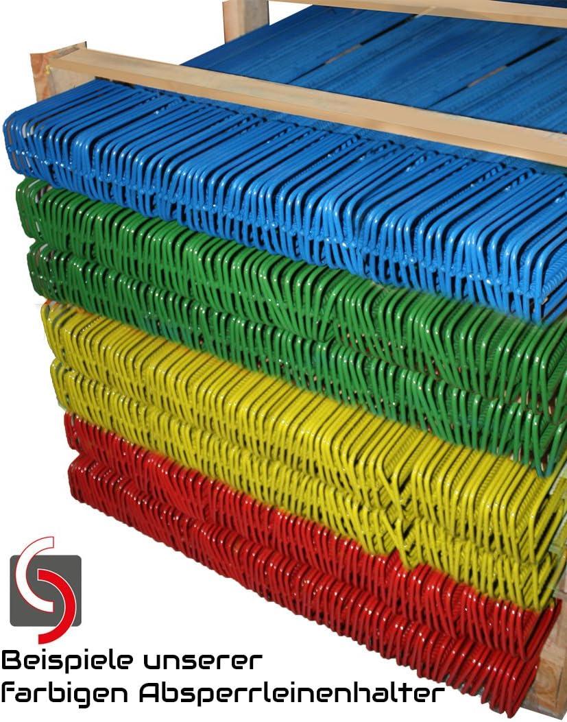 20 UvV-Reflex Sticker wei/ß 3x6cm Absperrketten. 100 St/ück rote Absperrleinenhalter /Ø14x1250mm inkl Fangzaun Halter f/ür Warnband