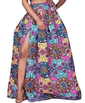 f716cbfb2d Alion Dashiki Side Split Skirt Women's African Printed High Waist Pleated  Maxi Skirt Purple XS