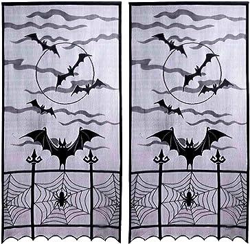 Halloween Props Decoration Cobweb Lace Black Spider Door Curtain Lace Window