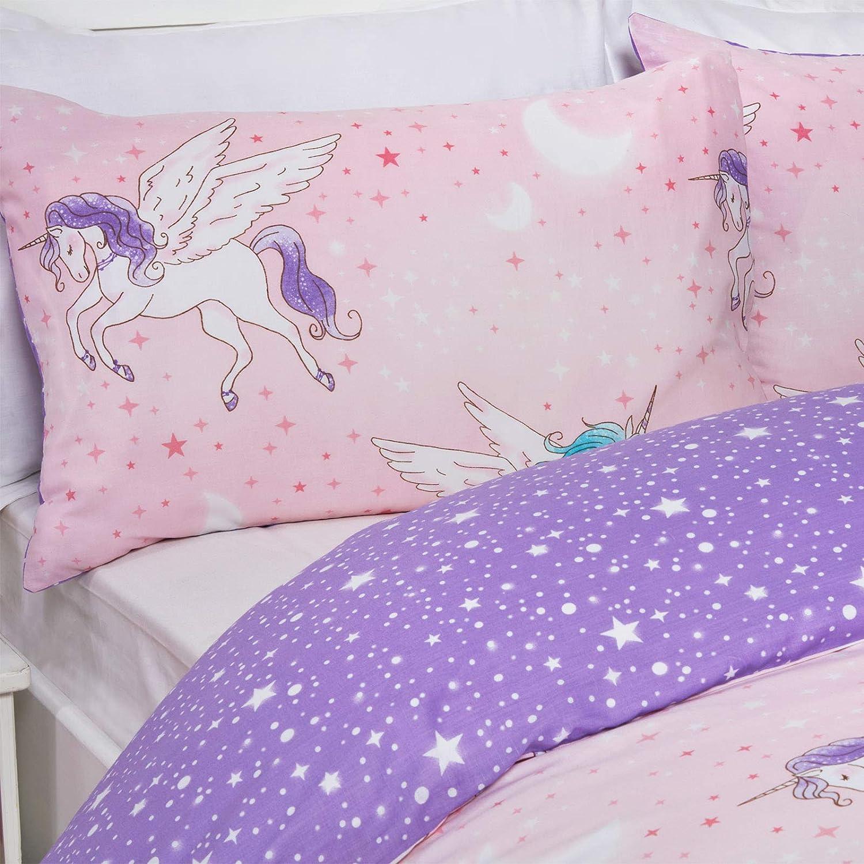 reversibile matrimoniale motivo unicorno colore: rosa set di biancheria da letto con copripiumino e federa 50/% cotone Dreamscene viola in policotone