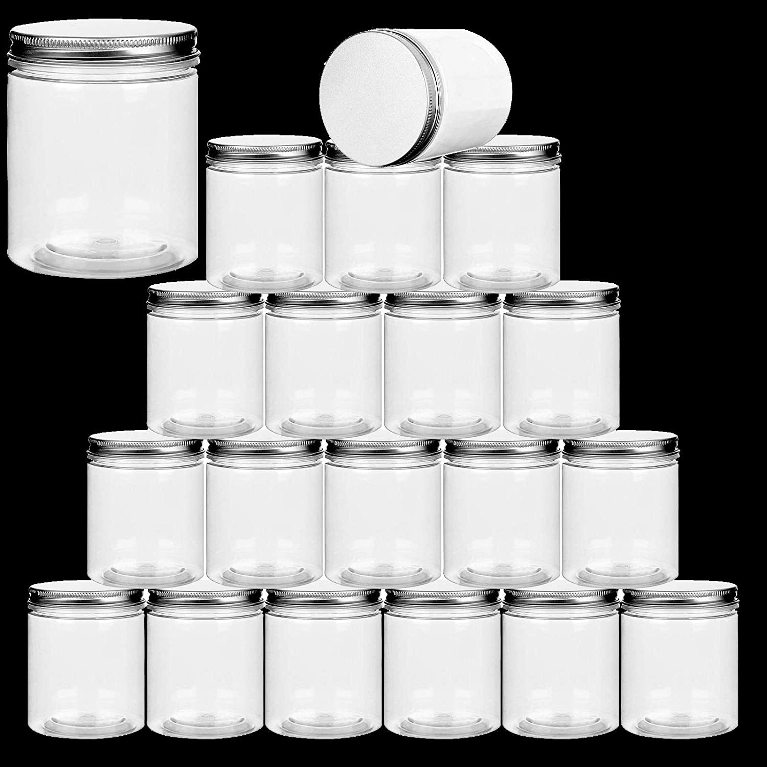 20 Pack 7 Ounce Clear Wide Size Plastic Jars Refillable Round Storage Containers Pantry Canisters with Lids