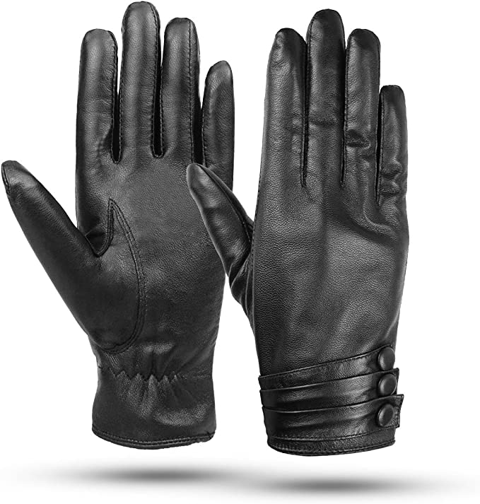 Warm Gloves. Woman/'s Leather Black winter Gloves Leather gloves Dress Gloves
