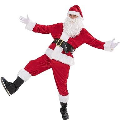 EraSpooky Hombre Traje De Santa Papá Noel Deluxe Disfraz Adulto Navidad Traje Talla Txtra