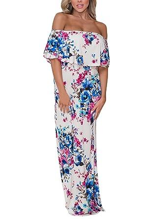 7064fead47 ELEGZO Women Summer Off Shoulder Dress Ruffle Floral Maxi Dress(White,S)
