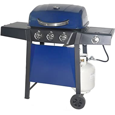 Revoace 3-Burner LP Gas Grill with Side Burner for Outdoor and Camping Blue Sapphire