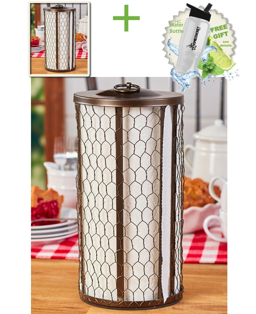 Gift Included- Farmhouse Kitchen Countertop Chicken Wire Paper Towel Holder Bronze + FREE Bonus Water Bottle by Homecricket by HomeCricket (Image #1)