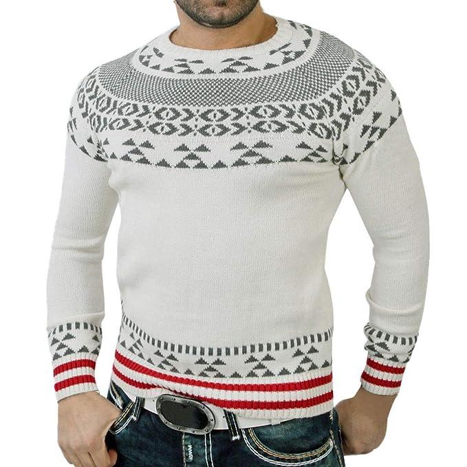 Blusa de Jersey de Cuello Alto en Punto de otoño e Invierno de los Hombres Impresa