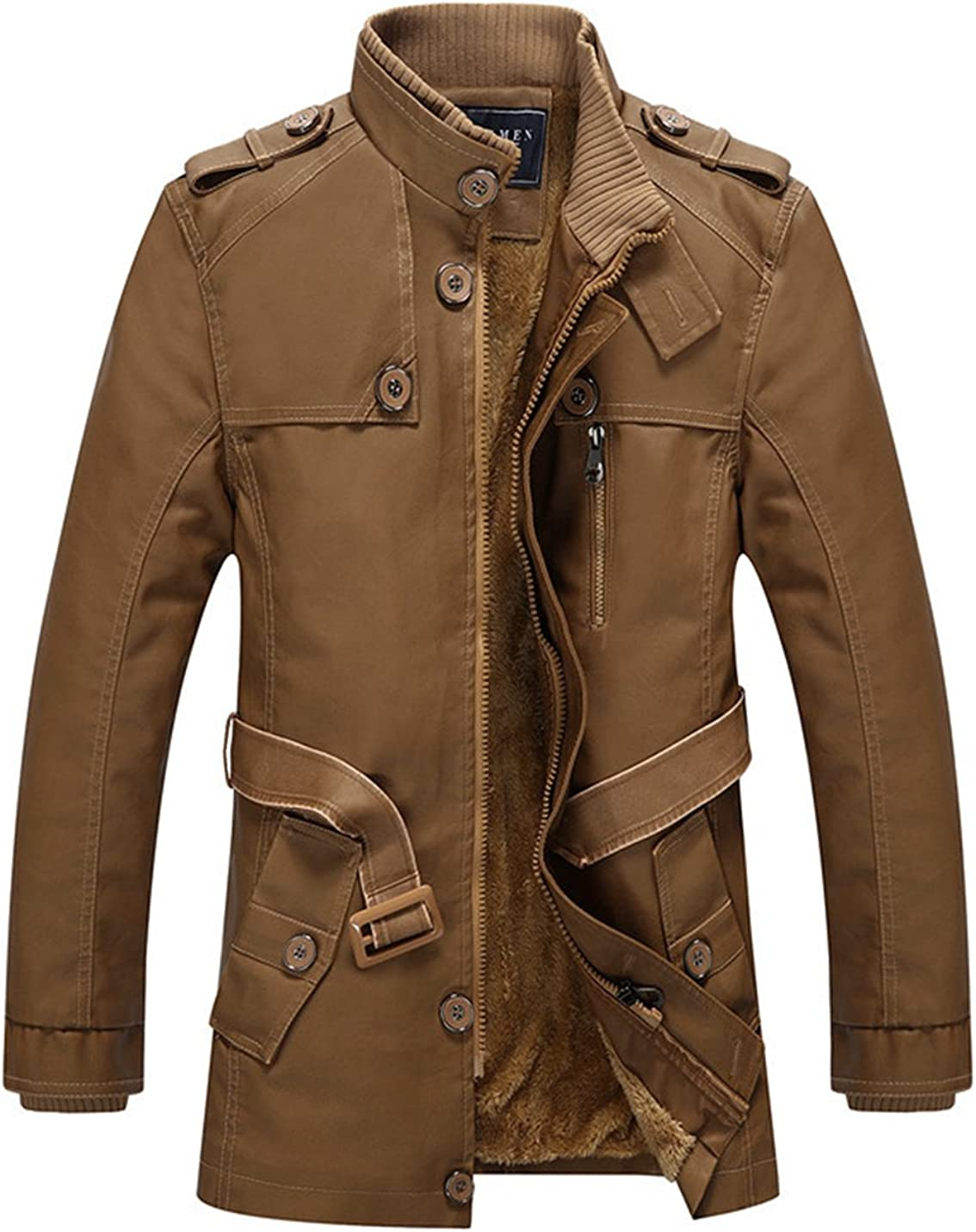 Lentta Mens Fleece Faux Fur Lined Mid Long PU Leather Jacket Parka Coat W Belt