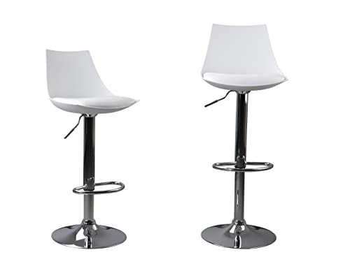 Bar Stools Set of 2, Y K Decor PU Leather Modern Adjustable Swivel Bar Stools Hydraulic Lift Counter Height Dining Chair Barstools WHITE