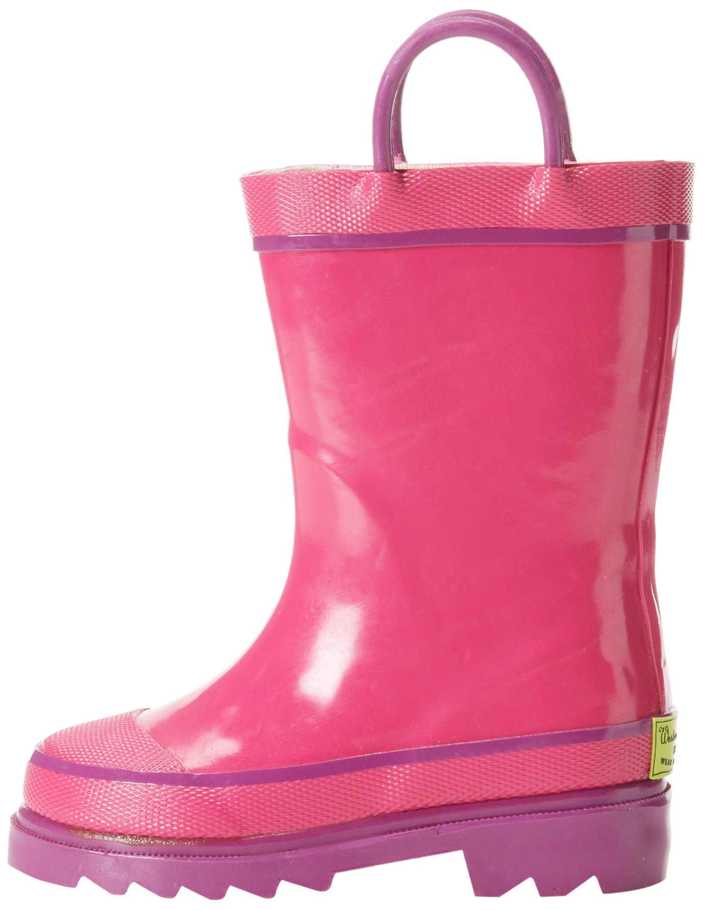 Western Chief Kids Waterproof Rubber Classic Rain Boot with Pull Handles, Pink, 7 M US Toddler by Western Chief (Image #5)
