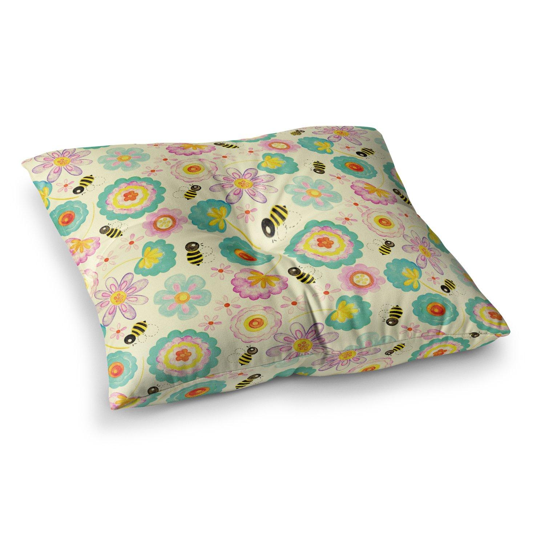 Kess InHouse Louise Machado Floral Bee Tan Teal, 23' x 23' Square Floor Pillow