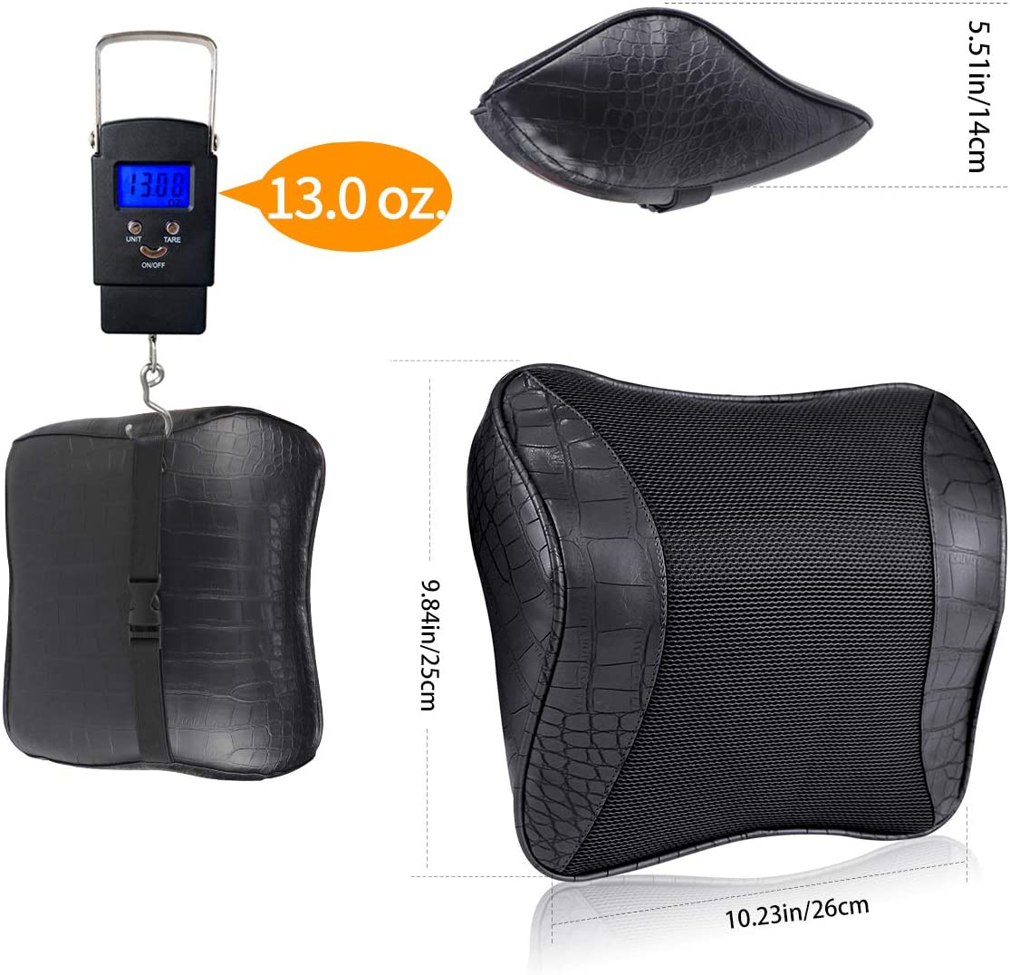 Great Accessory of Travel Driving Recliner Chair YIHO Car Memory Foam Neck Support Pillow Leatherette Cover Back Head-Rest Seat Cushion with Adjustable Strap for Driver /& Passenger Cervical Relief