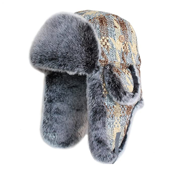 1cd88073905 lethmik Winter Hats Faux Fur Hunting Trapper Hat Unisex Warm Aviator Bomber  Hat  Amazon.ca  Clothing   Accessories