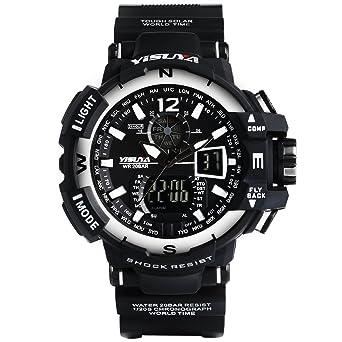FASIOU Yisuya Reloj analógico digital para hombre, resistente al ...