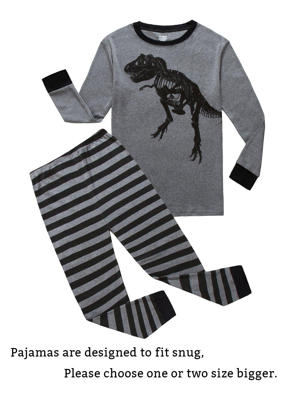 Dinosaur Big Boys Long Sleeve Pajamas Sets 100% Cotton Pyjamas Kids Pjs Size 10 Black