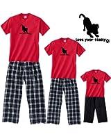 Love Your Dog Red and Black Adult Pajama Set & Kids Playwear; Choose Adult or Kid or Dog Bandana