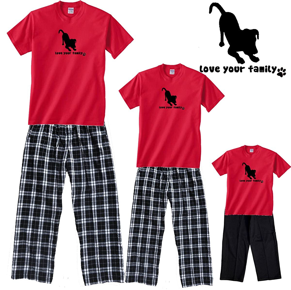 Love Your Dog Red and Black Adult Pajama Set & Kids Playwear; Choose Adult or Kid or Dog Bandana