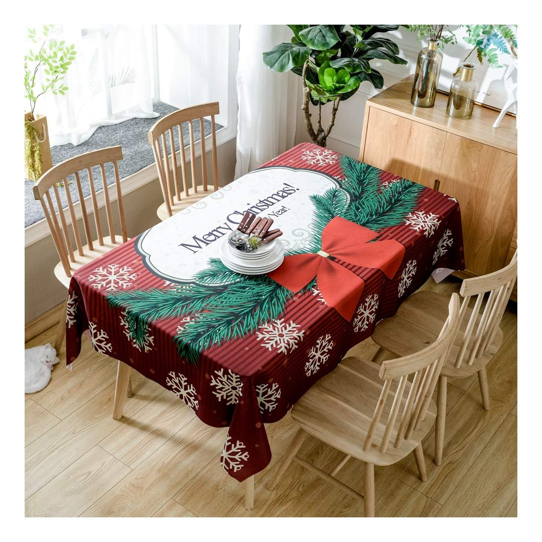 ZHAOXIANGXIANG Tabla Lavable Mat Carta De Navidad Minimalista Elegante Patrón De Copo De Nieve Decoracion Un Mantel,140Cmtimes;280Cm