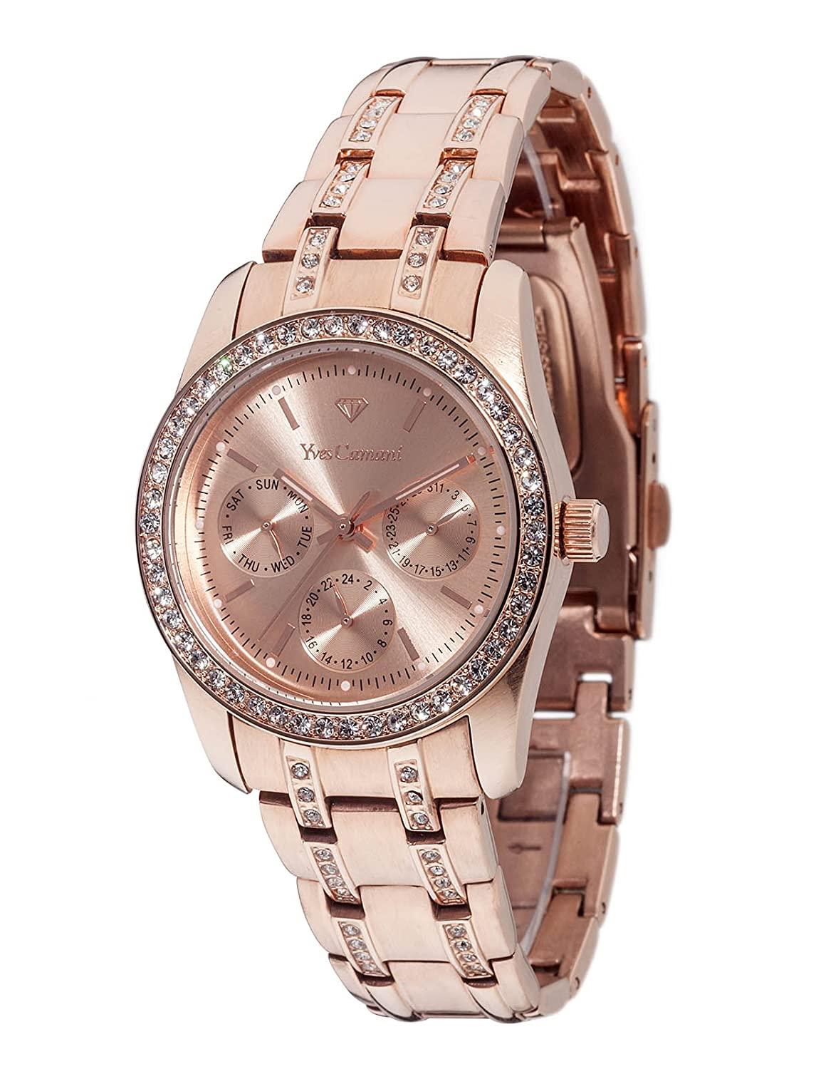 Yves Camani Women s Watch with Crystal Accented Stainless Steel Band and Day Date Display