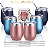 Zonegrace 6 pack 12 oz Stainless Steel Stemless Wine Glass Tumbler Double Wall Vacuum Insulated Bulk Wine Tumbler with…