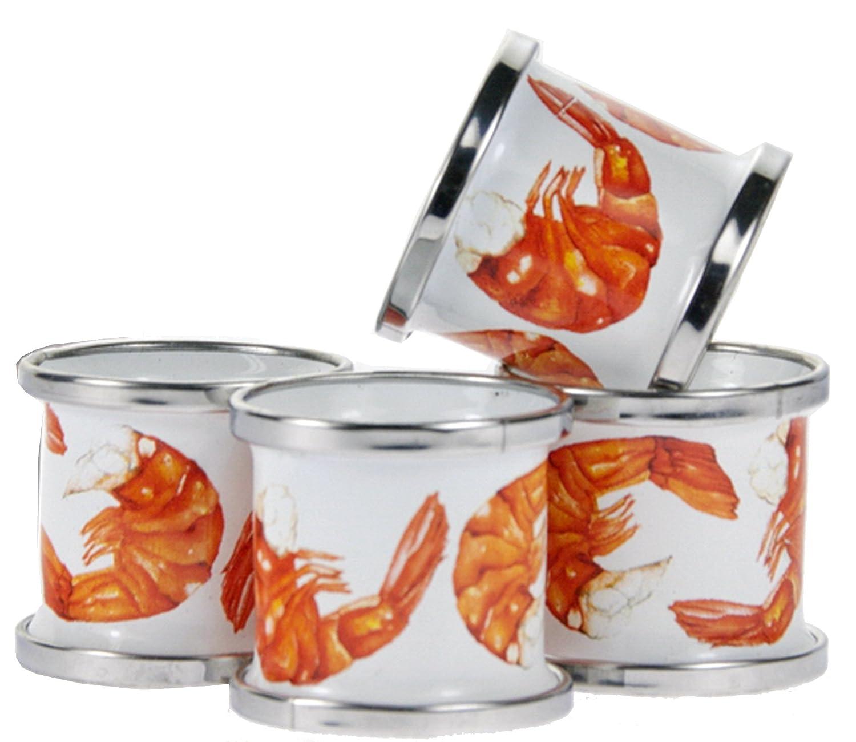 Enamelware – セットの4ナプキンリング SP74  Shrimp Pattern B071DT55LF