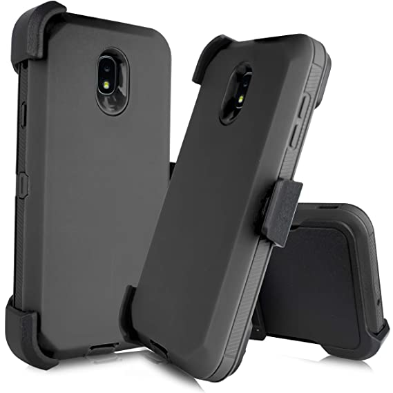 san francisco 66095 726eb Compatible with Samsung Galaxy J7 2018 Refine, Crown, Aura, Aero, Eon, J7  Top (SM- J737) [Four Layered Protection] Heavy Duty Defender Holster Armor  ...