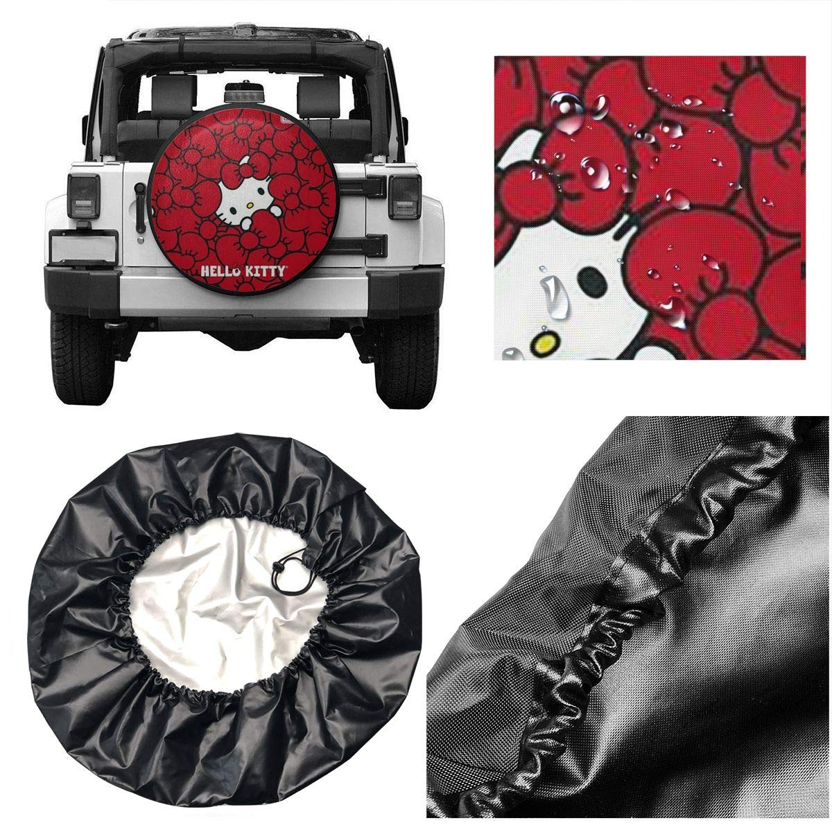 Lbbb1994 Fashion Hello Kitty in Red Background For14-17 Inch Classic Accessories Over Drive Standard RV Jeep Liberty Wrangler SUV Camper Travel Wheel Cover