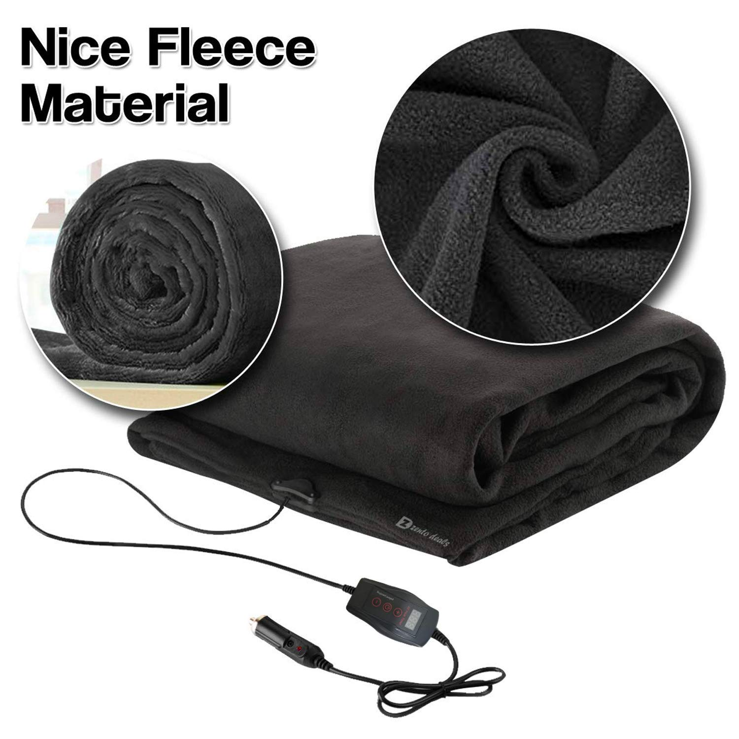 Zento Deals Pair of Heated Electric Polar Fleece Blanket 12V Cold Days and Night
