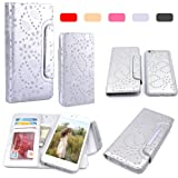 iPhone 6 Plus Case, HESPLUS Bling PU leather Flip Detachable Wallet Case with Credit Card Slot Holder for Apple iPhone 6 Plus 5.5 Inch (silver)
