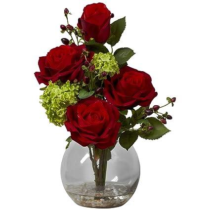 Amazon nearly natural 1284 rose and hydrangea silk flower nearly natural 1284 rose and hydrangea silk flower arrangement red mightylinksfo