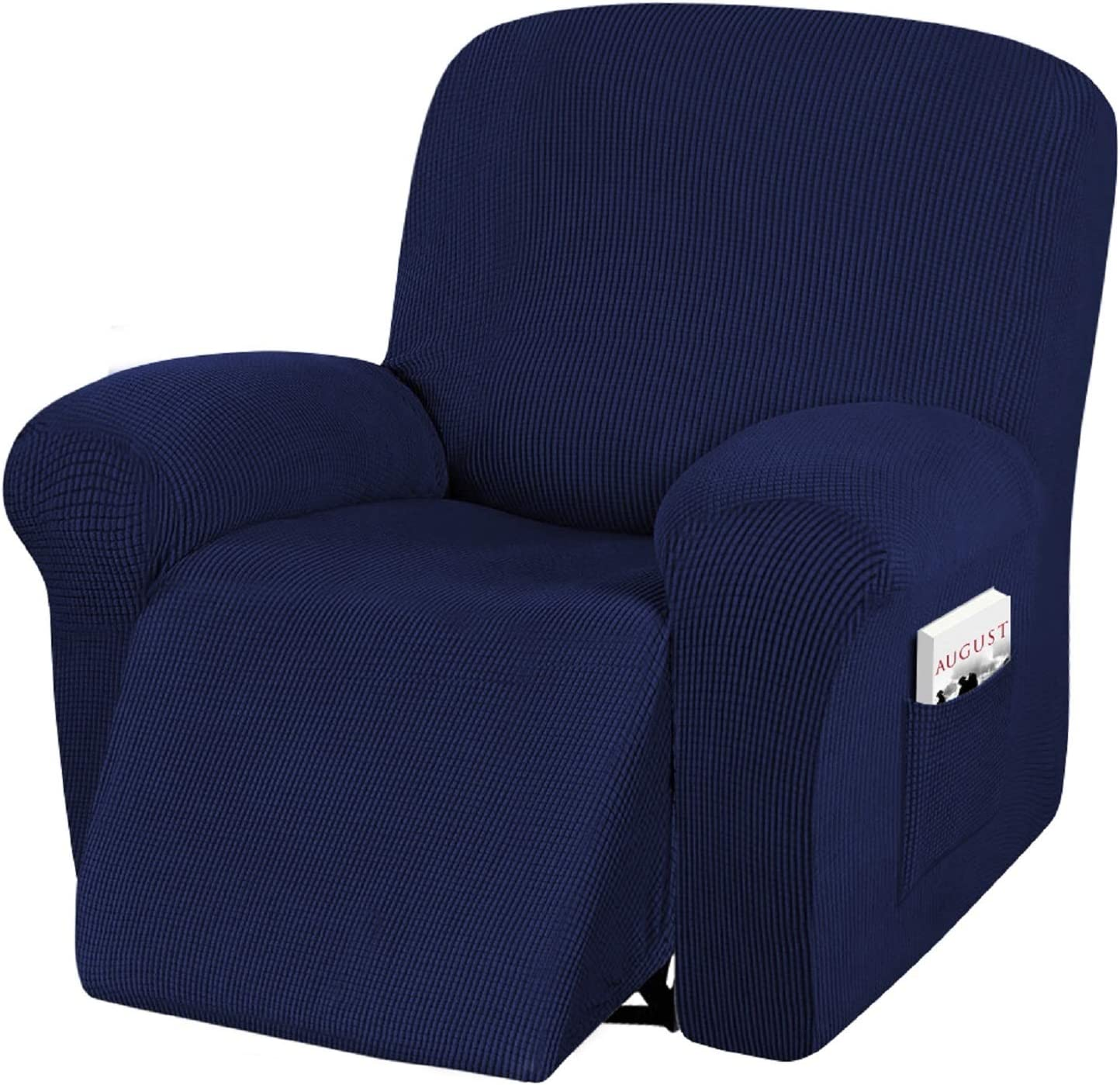 Recliner Sofa Slipcover, iCOVER Four Piece High Stretchy Reclining Chair Cover, Machine Washable Spandex Jacquard Fabric, Bottom Elastic Easy to Install, Non-Slip Furniture Protector, Navy