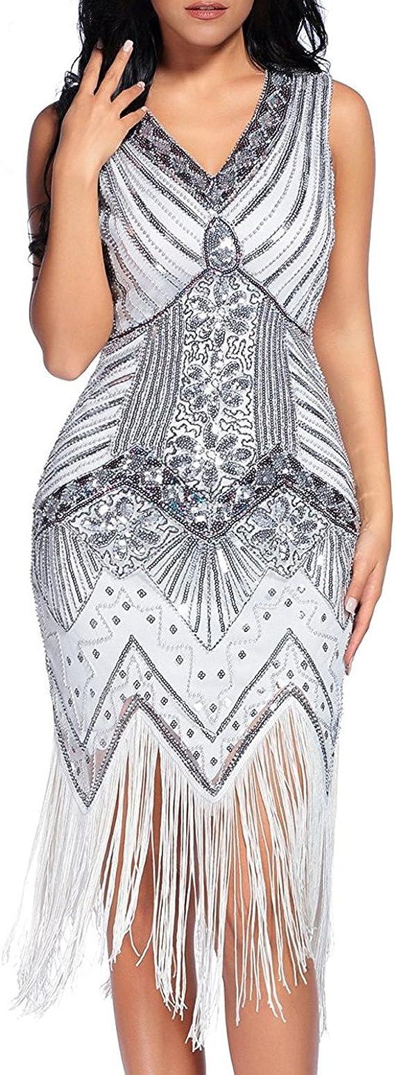 TALLA XL. Flapper Vestidos de Mujer de los años 20 con Cuello en V con Cuentas de Flecos Great Gatsby Dress Años 20 Estilo Vintaje Vestido 1920s Gatsby Vestido Flapper Blanco XL