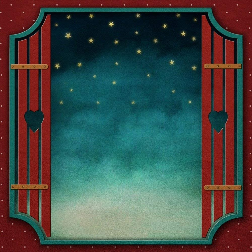 8x8ft Polyester Photography Backdrop Fantasy Fairytale Blue Sky Gold Star Red Window Scene Photo Background Children Baby Adults Portraits Backdrop