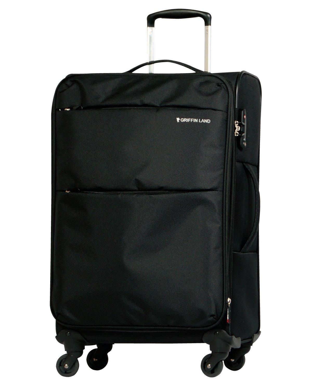 [グリフィンランド]_Griffinland TSAロック搭載 スーツケース ソフトタイプ  超軽量 AIR6327(solite) ファスナー開閉式 S型国内国際線機内持込可 5色3サイズ B01ASVUAHS M(中)型|ブラック ブラック M(中)型