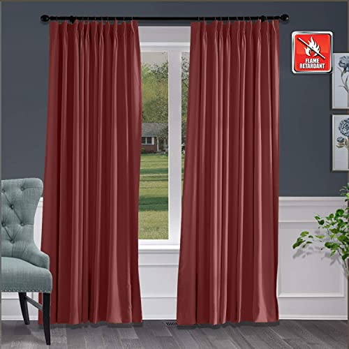 Macochico Fireproof Flame Retardant Thermal Insulated Curtains Blackout Pinch Pleat Drapery Panel