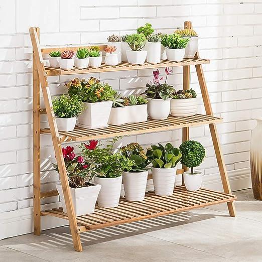 unho Escalera para Flores de Bambú Estantería Decorativa para Macetas Soporte para Plantas Exterior Interior Jardín con 3 Niveles 100 x 38 x 97cm: Amazon.es: Jardín