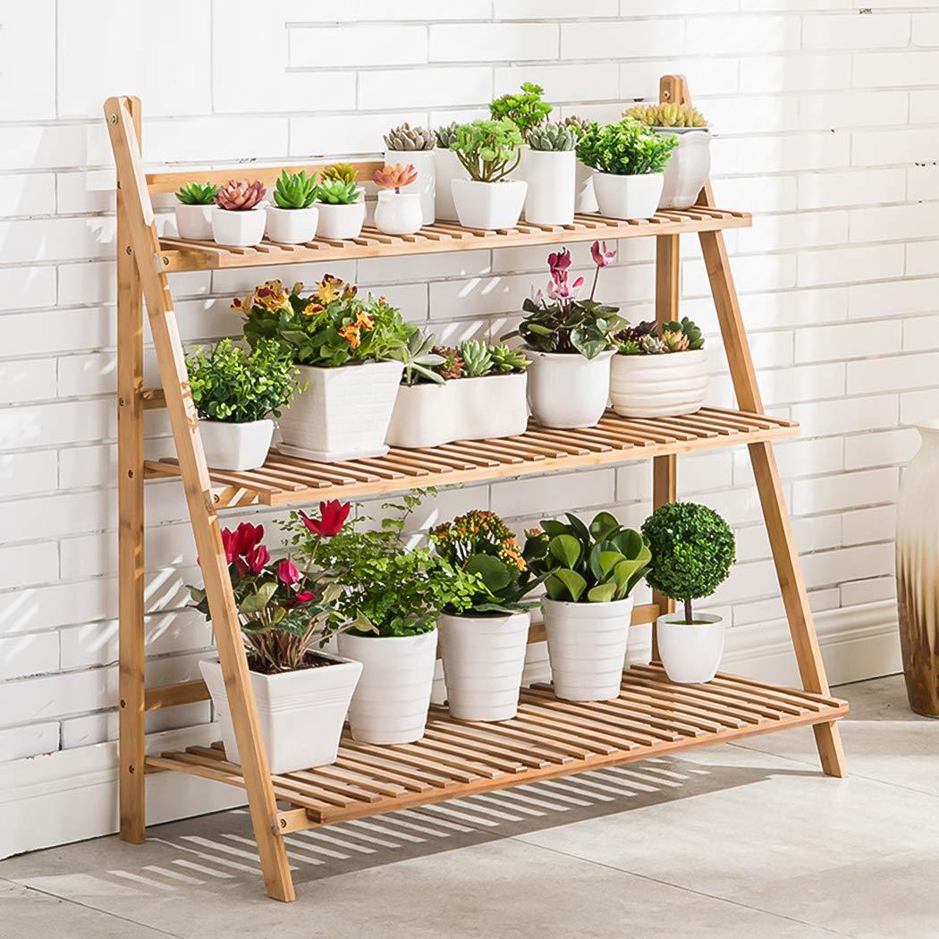 Étagère large en bambou pour pots de fleurs