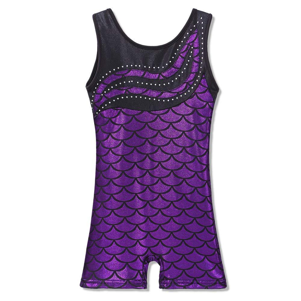 BAOHULU Leotard for Girls Gymnastics Toddler Biketards Shorts Shiny Scale Diamond Embroidery Purple,130