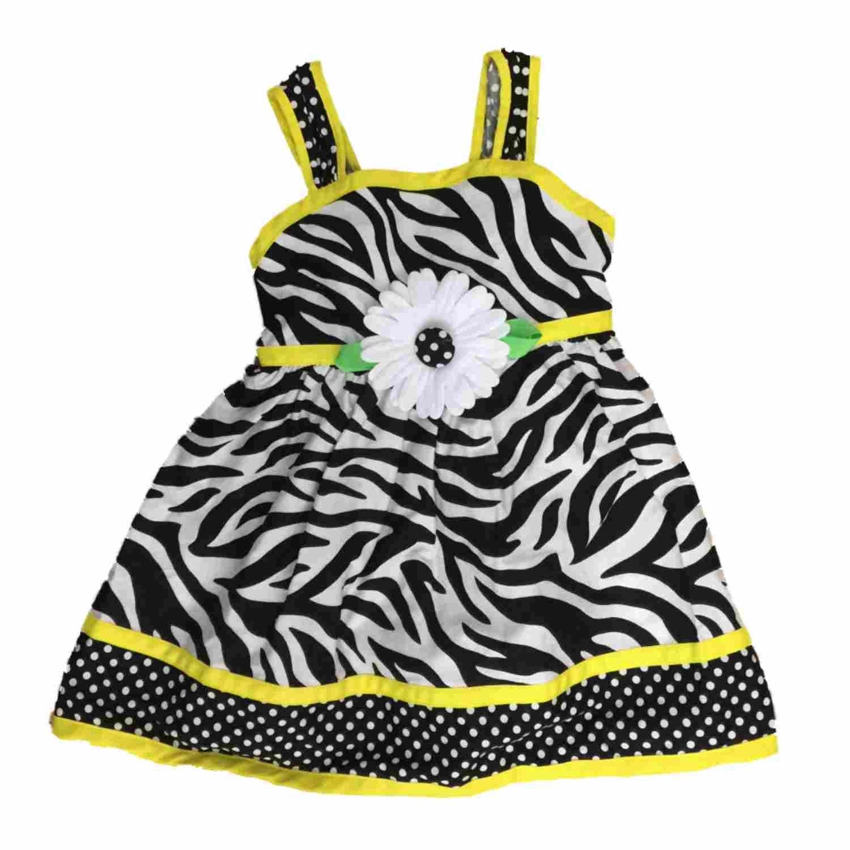 1db70e03d1fc Youngland Toddler Girls Black & White Zebra Print Daisy Flowy Sun Dress  Sundress