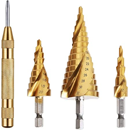 HSS Precision 9 Piece Drill Bit Set Large Step Cone Centre Hole Punch Cutter